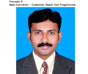 Token of Appreciation for the Best Convenor – Praveen P of Anchal Branch