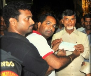 UAE Exchange India Donates Rs. 1 lakh to CM's Relief Fund for Hudhud Victims